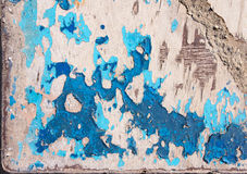 Grunge texture, blue paint peeling from wooden surface Royalty Free Stock Image