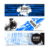 Grunge Texture Color Banner Set. Grunge style texture white black and blue color with text horizontal banner set  vector illustration Stock Photo