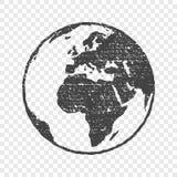 Grunge texture gray world map transparent  illustration Stock Photography