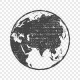 Grunge texture gray world map transparent  illustration Stock Photo