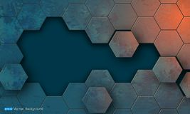 Grunge texture with hexagons segments. Abstract background with hexagons segments. Used clipping mask Royalty Free Stock Photos