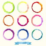 Vector watercolors circles and texture of crumpled paper royalty free illustration