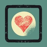 Grunge texture Love Heart abstract background. Retro vector illustration. Stock Photos