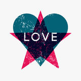 Grunge texture Love Heart and Star abstract background. Retro vector illustration. Stock Photos