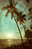 Grunge texture with ocean landscape in vintage style. Beautiful. Sunset at tropical beach with palm trees. India Royalty Free Stock Photography