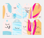 Grunge texture rough strokes floral sketch blue cream tag set Royalty Free Stock Photos