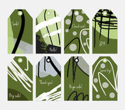 Grunge texture rough strokes floral sketch green dots tag set Royalty Free Stock Images