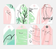 Grunge texture rough strokes floral sketch green pink tag set Royalty Free Stock Image
