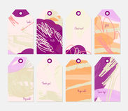 Grunge texture rough strokes floral sketch orange purple cream t Royalty Free Stock Photos
