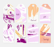 Grunge texture rough strokes floral sketch orange purple tag set Stock Image