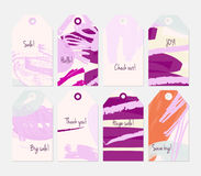 Grunge texture rough strokes floral sketch purple cream tag set Stock Photos
