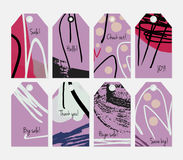 Grunge texture rough strokes floral sketch purple dots tag set Stock Photos