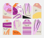 Grunge texture rough strokes floral sketch purple gray tag set Stock Image