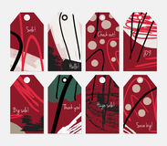 Grunge texture rough strokes floral sketch red dots tag set Royalty Free Stock Image