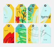 Grunge texture rough strokes floral sketch yellow blue tag set Royalty Free Stock Images