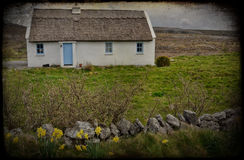Grunge texture rural irish cottage landscape Royalty Free Stock Photos