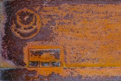 Rusty metal grunge texture plate orange oxidized steel iron high resolution graphics background Royalty Free Stock Images