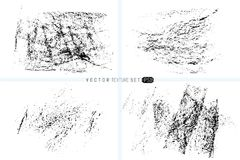 Grunge texture set. Hand drawn backgrounds. Vector templates. Spot of textures. Wax crayon spots. Monochrome artistic Royalty Free Stock Photography