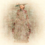 Grunge texture with Victorian woman Royalty Free Stock Photo