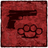 Grunge texture vintage background with gun. Vector illustration Stock Photo