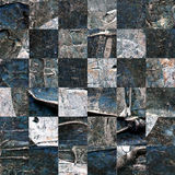 Grunge textured abstract checkered seamless pattern. Checkered finish flag painted with acrylic and oil paints in shades of brown, gray and blue on canvas Stock Photo