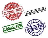 Grunge Textured ALCOHOL FREE Stamp Seals Royalty Free Stock Photo