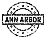 Grunge Textured ANN ARBOR Stamp Seal. ANN ARBOR stamp seal watermark with distress style. Designed with rectangle, circles and stars. Black vector rubber print royalty free illustration