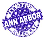 Grunge Textured ANN ARBOR Stamp Seal. ANN ARBOR stamp seal watermark with grunge style. Designed with rounded rectangle and circles. Blue vector rubber watermark vector illustration