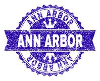 Grunge Textured ANN ARBOR Stamp Seal with Ribbon. ANN ARBOR rosette seal watermark with distress style. Designed with round rosette, ribbon and small crowns stock illustration