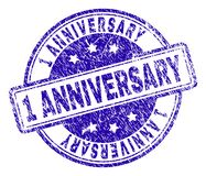 Grunge Textured 1 ANNIVERSARY Stamp Seal. 1 ANNIVERSARY stamp seal imprint with grunge texture. Designed with rounded rectangles and circles. Blue vector rubber Stock Illustration