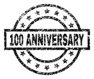 Grunge Textured 100 ANNIVERSARY Stamp Seal. 100 ANNIVERSARY stamp seal watermark with distress style. Designed with rectangle, circles and stars. Black vector stock illustration