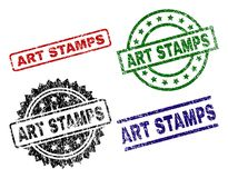 Grunge Textured ART STAMPS Seal Stamps. ART STAMPS seal prints with damaged style. Black, green,red,blue vector rubber prints of ART STAMPS text with unclean royalty free illustration