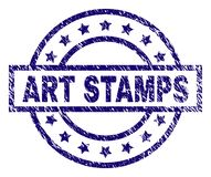 Grunge Textured ART STAMPS Stamp Seal. ART STAMPS seal print with grunge texture. Designed with rectangle, circles and stars. Blue vector rubber print of ART stock illustration