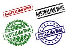 Grunge Textured AUSTRALIAN WINE Seal Stamps. AUSTRALIAN WINE seal prints with damaged style. Black, green,red,blue vector rubber prints of AUSTRALIAN WINE text stock illustration