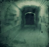 Grunge textured background - hallway. Grunge textured retro collage - Dark scarry hallway stock illustration