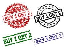 Grunge Textured BUY 1 GET 2 Seal Stamps. BUY 1 GET 2 seal stamps with distress texture. Black, green,red,blue vector rubber prints of BUY 1 GET 2 tag with grunge royalty free illustration