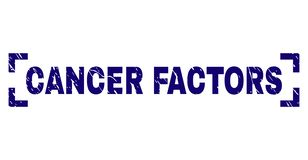 Grunge Textured CANCER FACTORS Stamp Seal Inside Corners. CANCER FACTORS text seal watermark with distress texture. Text tag is placed between corners. Blue stock illustration