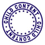 Grunge Textured CHILD CONTENT Round Stamp Seal. CHILD CONTENT stamp seal imprint with grunge texture. Designed with round shapes and stars. Blue vector rubber vector illustration