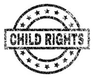 Grunge Textured CHILD RIGHTS Stamp Seal. CHILD RIGHTS stamp seal watermark with distress style. Designed with rectangle, circles and stars. Black vector rubber stock illustration