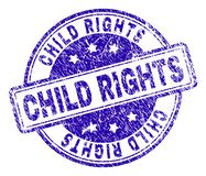 Grunge Textured CHILD RIGHTS Stamp Seal. CHILD RIGHTS stamp seal watermark with grunge effect. Designed with rounded rectangles and circles. Blue vector rubber royalty free illustration