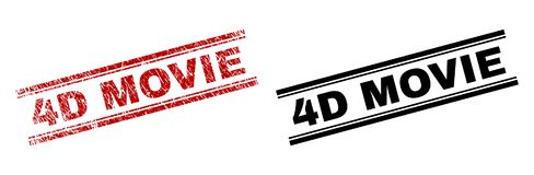 Grunge Textured and Clean 4D MOVIE Stamp Prints. 4D MOVIE stamp seal print with red corroded and clean black version. Red vector rubber print of 4D MOVIE caption vector illustration