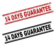 Grunge Textured and Clean 14 DAYS GUARANTEE Stamp Prints. 14 DAYS GUARANTEE stamp seal print with red grunge and clean black version. Red rubber print of 14 DAYS stock illustration