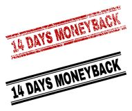 Grunge Textured and Clean 14 DAYS MONEYBACK Stamp Prints. 14 DAYS MONEYBACK stamp seal print with red distress and clean black version. Red rubber print of 14 vector illustration