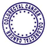 Grunge Textured COLORECTAL CANCER Round Stamp Seal. COLORECTAL CANCER stamp seal imprint with grunge texture. Designed with circles and stars. Blue vector rubber vector illustration