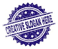 Grunge Textured CREATIVE SLOGAN HERE Stamp Seal. CREATIVE SLOGAN HERE stamp seal watermark with distress style. Blue vector rubber print of CREATIVE SLOGAN HERE stock illustration