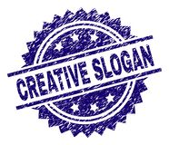Grunge Textured CREATIVE SLOGAN Stamp Seal. CREATIVE SLOGAN stamp seal watermark with distress style. Blue vector rubber print of CREATIVE SLOGAN label with vector illustration