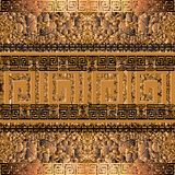 Grunge textured 3d greek border seamless pattern. Abstract cracked gold background. Repeat geometric backdrop. Greek key meander. Ancient borders ornament royalty free illustration