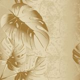 Grunge textured 3d palm leaves vector seamless pattern. Modern floral dirty leafy background. Grungy old paper cracked texture.  Decorative beautiful endless Stock Images