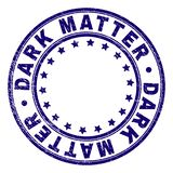 Grunge Textured DARK MATTER Round Stamp Seal. DARK MATTER stamp seal watermark with distress texture. Designed with circles and stars. Blue vector rubber print stock illustration