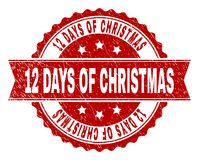 Grunge Textured 12 DAYS OF CHRISTMAS Stamp Seal. 12 DAYS OF CHRISTMAS seal print with corroded texture. Rubber seal imitation has round medal form and contains Stock Illustration